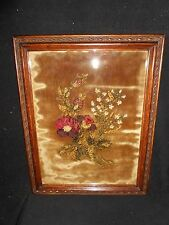 Victorian Floral Needlework 1886 with Superb Decorated Frame Oak Flowers Colors