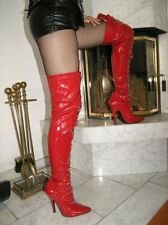 Lack Stiletto High Heels Stiefel Overknee Rot 40 Stiletto Absatz Schnürung