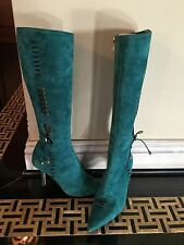 Jimmy Choo Teal Turquoise Lace Up Boots! 37