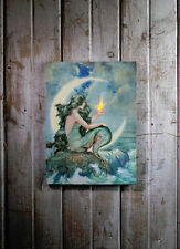 Mermaid with Flickering Light Radiance Lighted Canvas Wall Art 71342 NEW