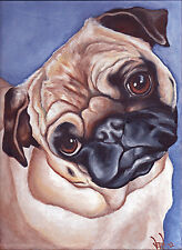 FAWN PUG Head 8x10 Signed Dog Art PRINT of Original Oil Painting by VERN