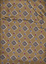 10 yds ALL ONE PIECE *ANTIQUE UPHOLSTERY FABRIC GOLD PRINT RARE *CHAIRS *DRAPES