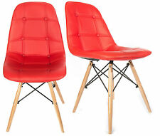 Charles Jacobs Office Dining Chair x2 (Pair) Retro Wooden Legs Red PU Leather