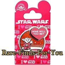 "Disney Parks Star Wars Jedi Yoda Valentine's Day ""Mine Will You Be?"" Pin (NEW)"