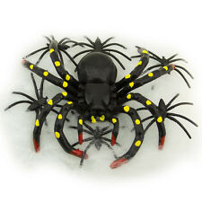 Hanging Black Spiders and Stretchable Web Halloween Haunted House Decoration Toy