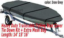 Deluxe 14' - 16' Aluminum Fishing V-Hull Boat Cover Iron Grey TC1