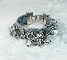 KW Bracelet Shades of Grey Faux Leather Heart Charm Crystal Rhodium Plate BNWT