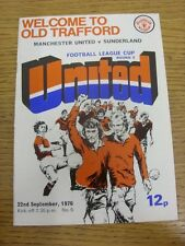 22/09/1976 Manchester United v Sunderland [Football League Cup] (token removed,
