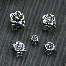 Elegant 925 Sterling Silver 5mm Loose Flower Squared Beads 10pcs/Lot