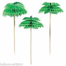 "10 Tropical Honeycomb Palm Tree 4"" Party Tableware Snack Picks"