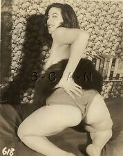 Original Vintage 1940s-60s Nude RP- Mature Woman- Fur- Pulls Up Panties- Butt