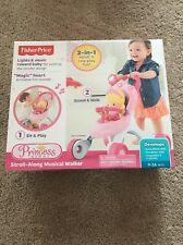 FISHER PRICE BABY GIRL PRINCESS MOMMY 2 IN 1 STROLL ALONG MUSICAL WALKER STROLLE