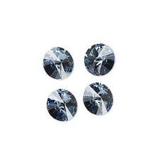 4 Denim Blue Swarovski Crystal Foiled 1122 Rivoli Stone Beads 14MM