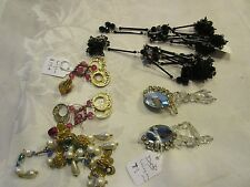 Mixed lot of 4 pair vintage costume jewelry clip on earrings - DEBLOT