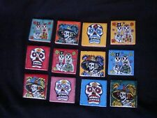 """Lot of 12, Day of Dead Mexican Tile 2""""X2"""", Talavera, Catrina Art Supply, kitchen"""