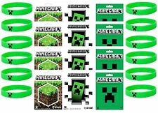 Official Minecraft Party Bag Fillers 12 CREEPER bands 12 MineCraft Stickers S/M