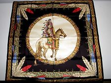 """RNWY NWT VERSACE INDIAN CHIEF MULTI-COLOR 100% SILK 34"""" Sq  SCARF made in Italy"""