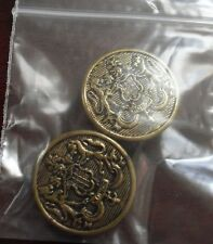 Lot of 2 Vintage Metal Honor Coat Buttons LOOK
