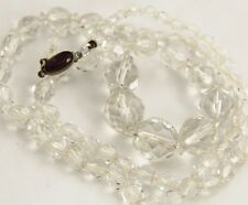 ANTIQUE CZECH Jewelry ART DECO CLEAR CRYSTAL GRADUATED NECKLACE FANCY CLASP 24""