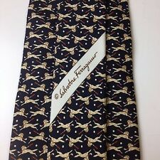 New Without Tag SALVATORE FERRAGAMO Dog & Golf 100% Silk Tie Made In ITALY