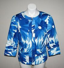 COLDWATER CREEK Womens Blue Cotton Blend Floral Blazer Jacket Size 6
