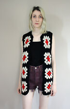 Vintage 70s Granny Square Crochet Black Red and White Waistcoat/Gillet - S 6 8