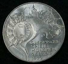 "1972 J 10 DM Munich Olympics 62.5% Silver Commemorative ""Stadium"" Design"