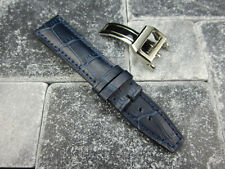 22mm Blue Leather Strap Deployment Buckle XL Large Watch Band SET Top Gun PILOT