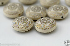 Cream Gold Etched Flat Round Acrylic Beads 21mm (10)
