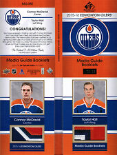 15/16 SP GAME USED CONNOR MCDAVID TAYLOR HALL MG DUAL PATCH BOOKLET /15 OILERS