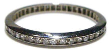 ART DECO ESTATE ANTIQUE 18K WHITE GOLD DIAMOND WEDDING ETERNITY RING BAND 5.75