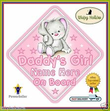 "Daddy's girl personalizzata Auto Firmare ""Carino Little Rabbit"" Baby On Board KIDS BAMBINO"