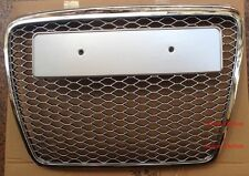 RS6 Style Grille Fit 05-10 Audi A6 C6 S6 Silver Mesh Chrome Frame Chrome Rings