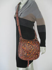 New Patricia Nash Borghetto Brown Leather Messenger Crossbody Shoulder Bag