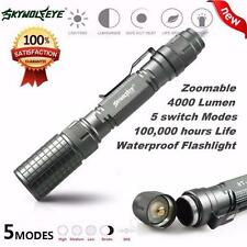Bright 4000LM Cree XM-L T6 Zoomable Focus LED Flashlight Torch 5 Mode Light Lamp