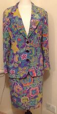 Yves Saint Laurent Vintage Suit.  Floral Pattern 100% Silk