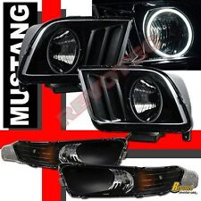 05 06 07 08 09 Ford Mustang GT CCFL Halo Headlights & Bumper Signal Lights Black