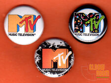 """Set of three 1"""" MTV pins buttons 80s music television"""