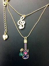 N700 BETSEY JOHNSON Bass Guitar Music Piano Treble Clef Quave Necklace US