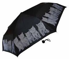 "Grey Kitty Cat Super Mini 8 Panel 46"" Arc SPF/UV Fabric Black Compact Umbrella"