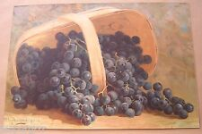 CHROMOLITHOGRAPH PRINT. STILL LIFE GRAPES. H G HEWES. 1892. GENUINE VICTORIAN