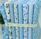 8 pieces BUNDLE blue COTTON FABRIC SMALL FLORAL STRIPE Joblot Mixed Craft