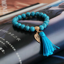 Turquoise Stone Beaded Bracelets Rope Tassel Leaf Charm Bracelet Jewelry Fashion