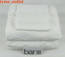 Bar III Sheet Set QUEEN Solid White Relaxed Twill Weave 100% Cotton