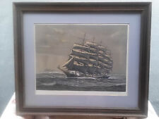 """VINTAGE RICHARD LINTON """"ROUNDING THE HORN"""" LITHOGRAPH SIGNED 1980 IN FRAME"""