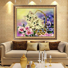 DIY 5D Cute Kitten Cat Diamond Embroidery Painting Cross Stitch Kit Home Decor