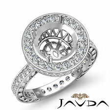 Diamond Engagement Ring Round Semi Mount 18k White Gold Halo Pave Setting 1Ct