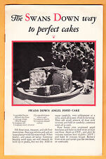 1930 The Swans Down Way To Perfect Cakes, 11 pp recipes, photos, General Foods