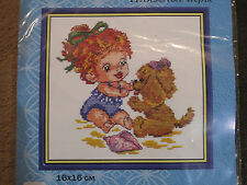 Game on the beach (little girl and a puppy) cross stitch kit
