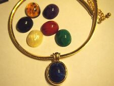 Joan River Blue Omega Interchangeable pendant necklace
